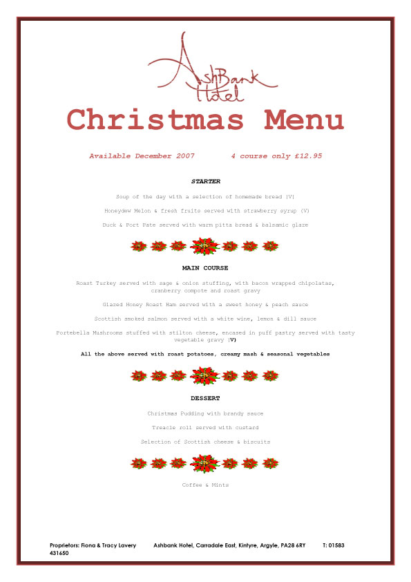 [Christmas Menu #1 at the Ashbank Hotel, Carradale]