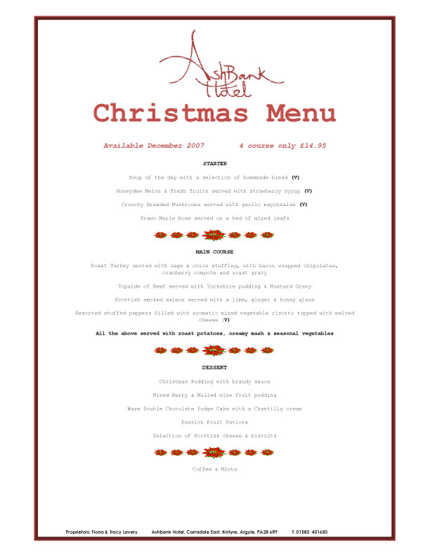 [Christmas Menu #2 at the Ashbank Hotel, Carradale]